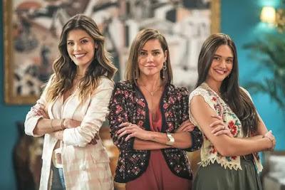 Kyra (Vitória Strada), Alexia (Deborah Secco) e Luna (Juliana Paiva)