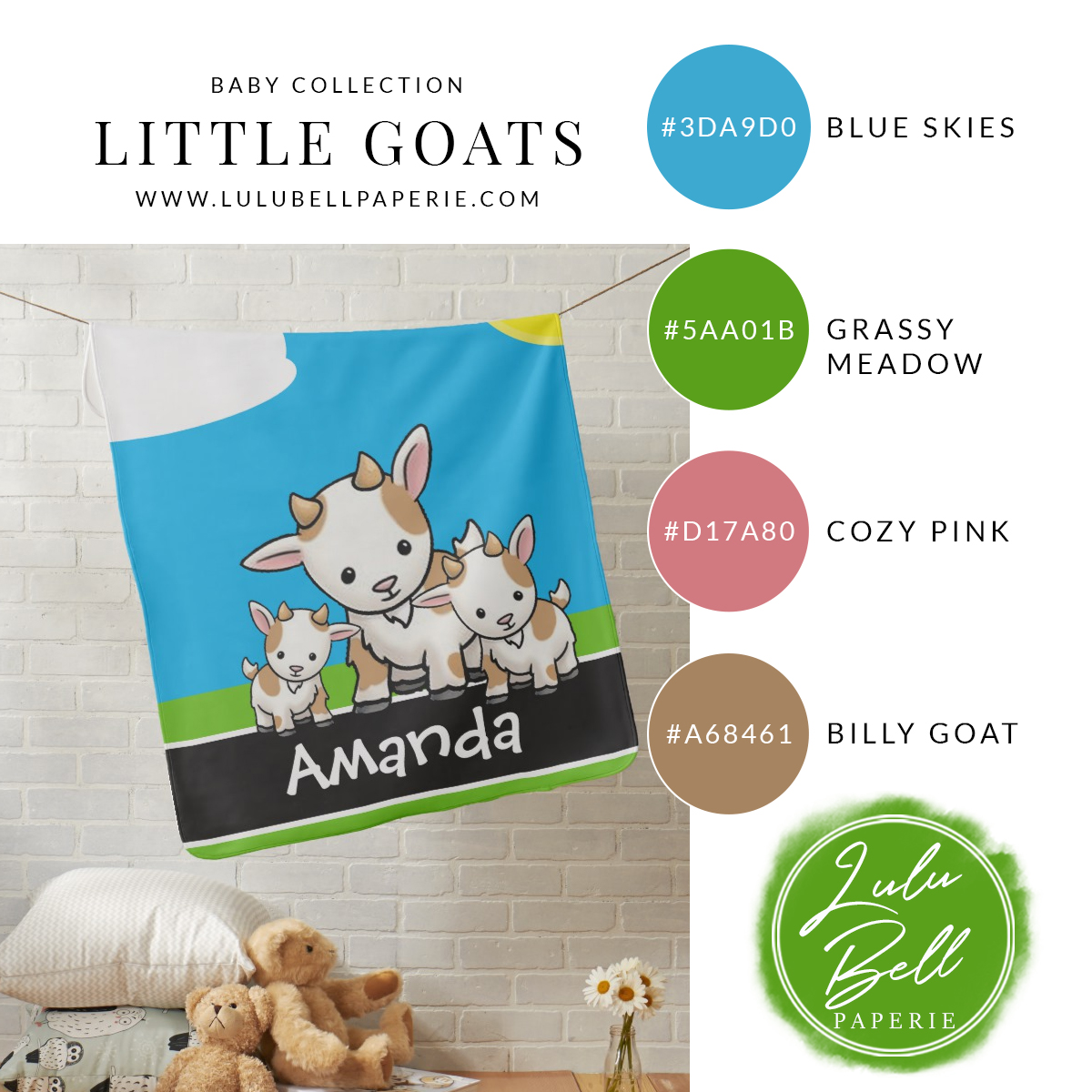 Baby Goat Personalized Blanket and Color Platte Card