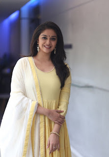 Keerthy Suresh in Yellow Dress with Cute and Awesome Lovely Smile at Press Meet 2