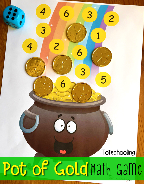 FREE St. Patrick's Day Roll and Cover math game featuring a pot of gold at the end of the rainbow! Great for counting, number recognition and addition.