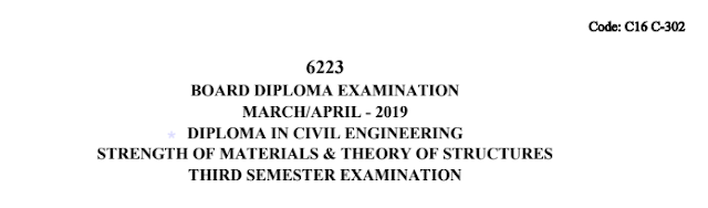 Diploma Previous Question Paper c16 dce 302 Strength of Materials and Theory of Structures March/April 2019