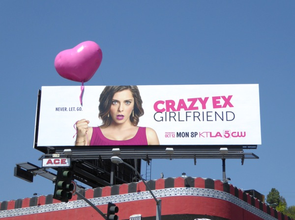 Crazy Ex-Girlfriend 3D heart-shaped balloon billboard installation