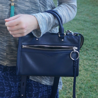 print mixing outfit with Rebecca Minkoff Micro Bedford zip satchel in twilight | away from the blue