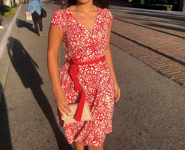 Kelly Fountain wearing Diane von Furstenburg wrap dress at The Grove in Beverly Hills