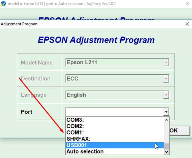 seleccionar puerto de la impresora epson L211