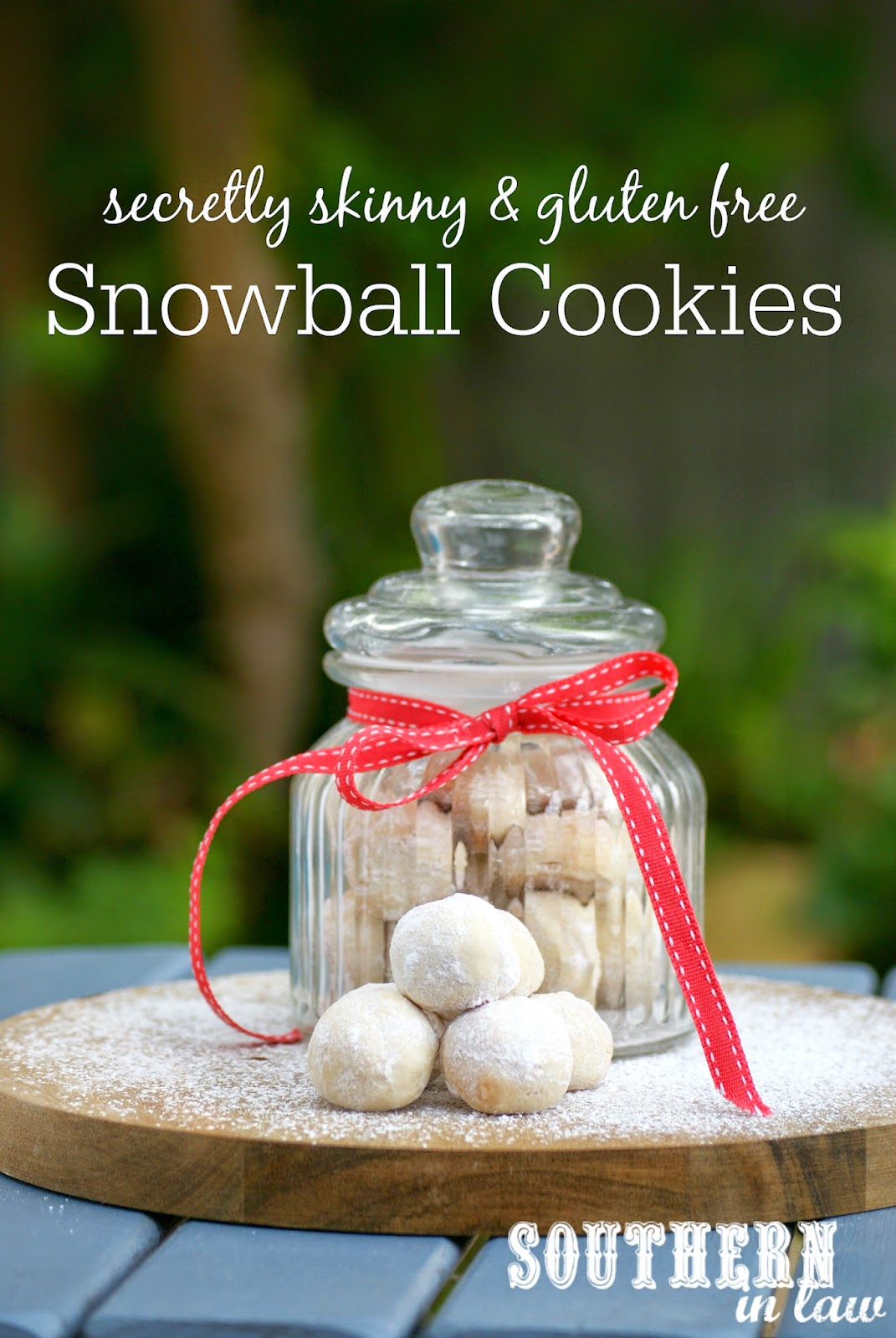 Healthier Snowball Cookies Recipe - low fat, low sugar, gluten free, egg free, healthy - Christmas Cookie Gift Ideas in a Jar