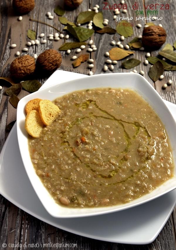 Zuppa di verza con fagioli, porri e grano saraceno