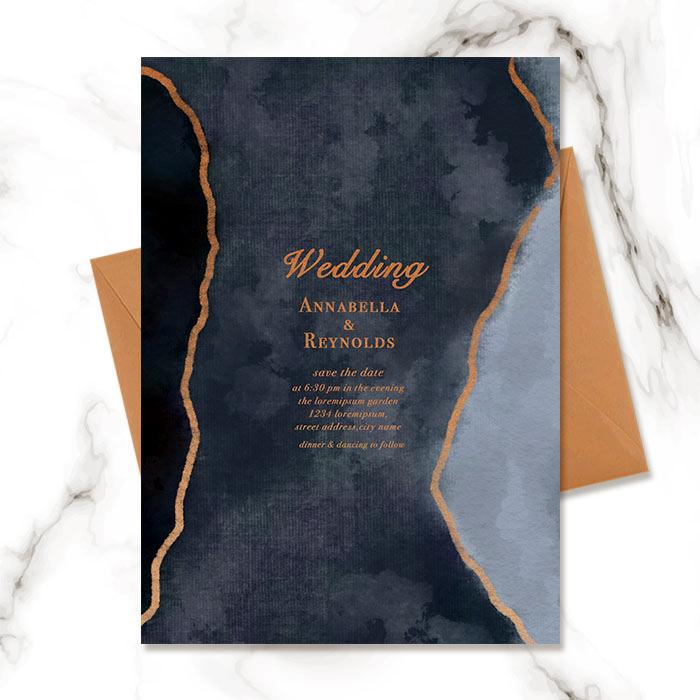 Blue Gold Foil Watercolor Halo Gradient Wedding Invitation