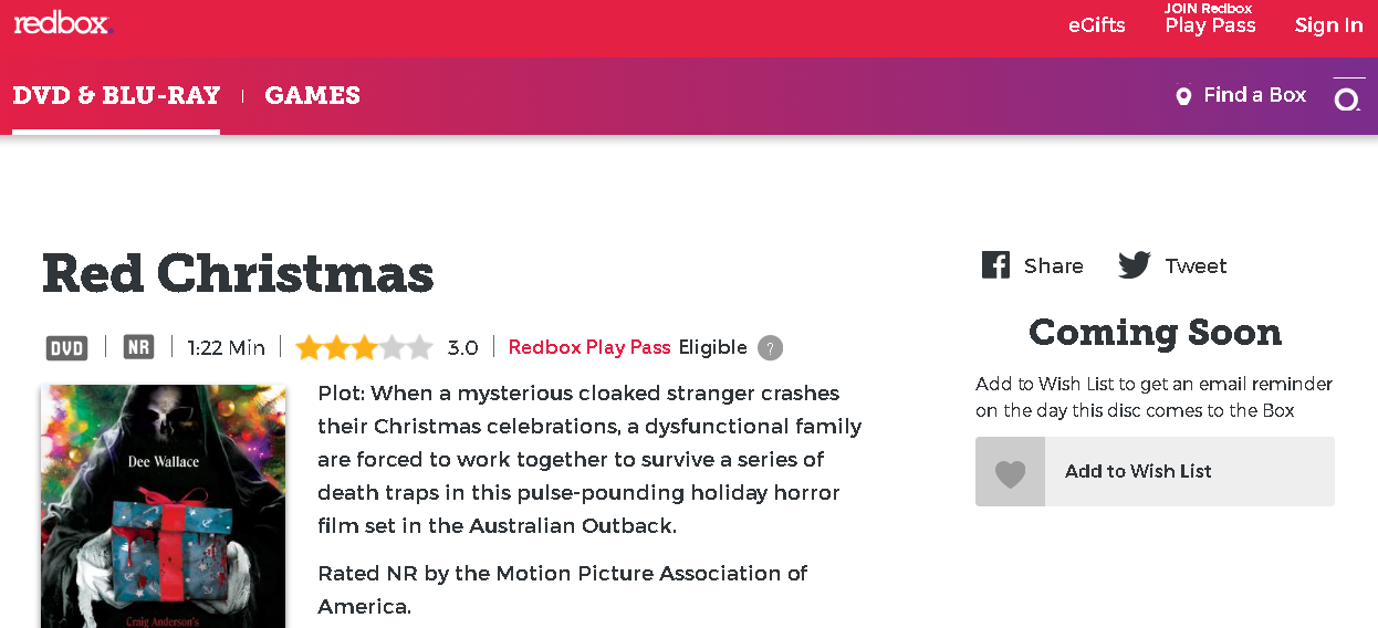 plot when a mysterious cloaked stranger crashes their christmas celebrations a dysfunctional family are forced to work together to survive a series of - Redbox Christmas Movies