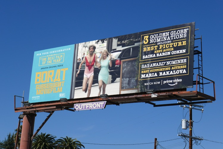 Borat Subsequent Moviefilm nominee billboard
