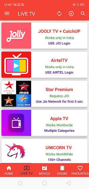 Live TV channels Oreo tv