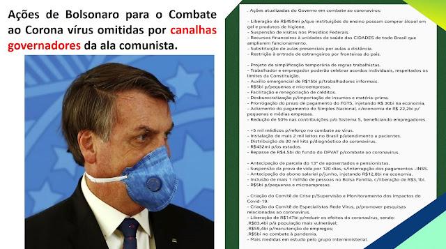 Ações de Bolsonaro para o Combate ao Corona vírus omitidas por canalhas governadores da ala comunista