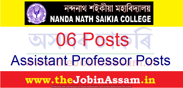 N N Saikia College, Titabar Recruitment 2021