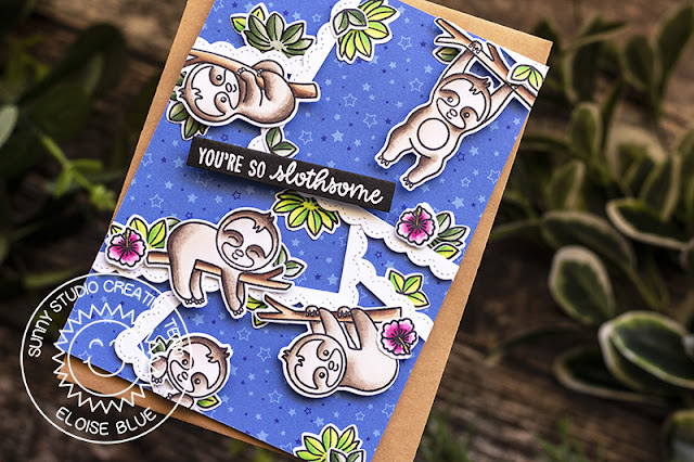 Sunny Studio Stamps: Silly Sloths Staggered Circles Ric Rac Borders Fancy Frames Sloth Themed Cards by Leanne West and Eloise Blue