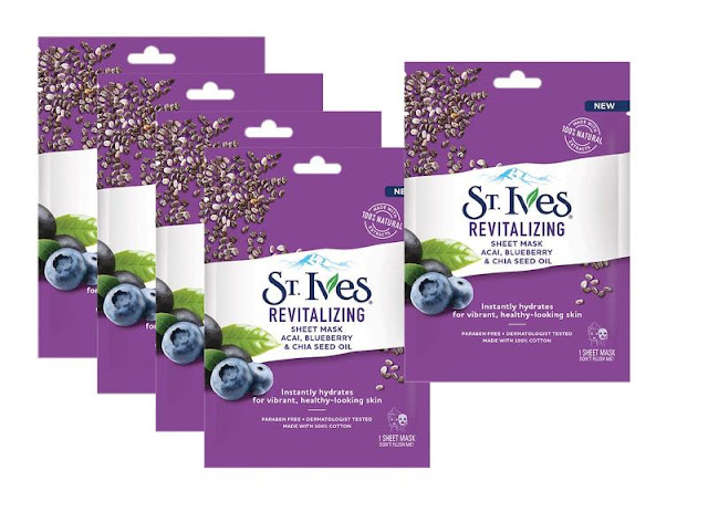 Review St. Ives Revitalizing Sheet Mask Acai, Blueberry & Chia Seed Oil