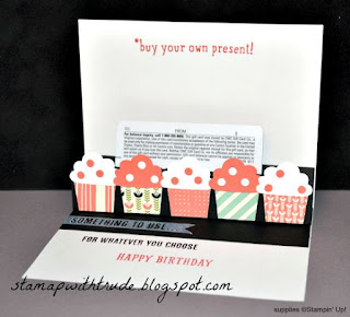 B.Y.O.P. stamp set, Stampin' Up!, Trude Thoman, Stamp With Trude, http://stampwithtrude.blogspot.com, pop-up card, Tuesday Tutorial, cupcake builder punch, gift card holder, birthday card