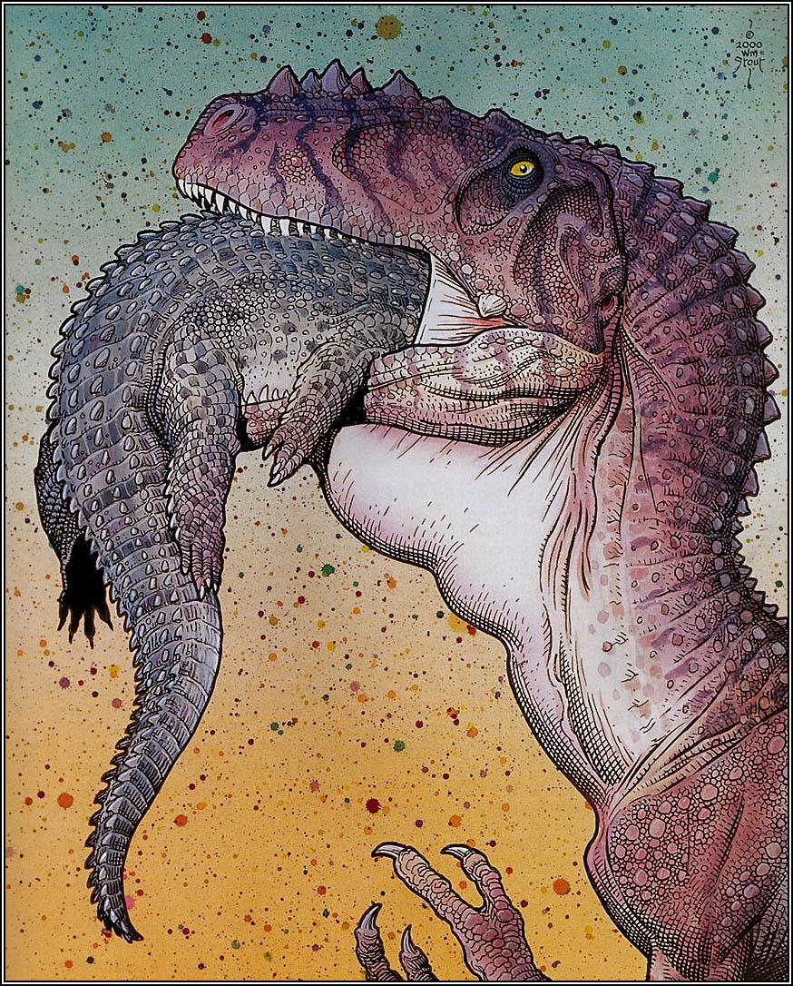 William Stout, a big dinosaur eating a smaller dinosaur