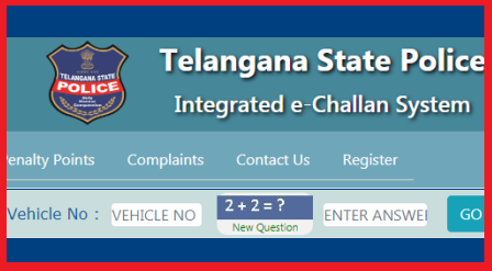 Telangana Police Integrated e-Challan System Want to know RTO Challan details on your vehicle? Yes this is the official web portal to check RTO Penalty details for Signal Jumpings Wrong Root going No Helmet, No Parking Charges, Triple Riding on your Bike.Telangana State Road Traffic Police launched web Portal for checking Challans Charged on your vehicle and also can register on the website to get sms alerts check-telangana-police-rto-echallan-penalty-on-vehicle-number-register-for-sms-alerts-on-your-mobile