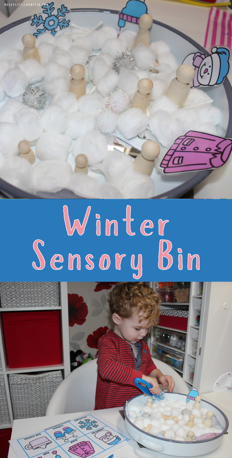 Winter sensory bin. Winter theme activities for toddlers and preschoolers.