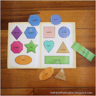 Shape Matching File Folder Game