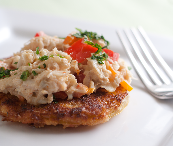 Sriracha Crab Ravigote over Fried Green Tomatoes