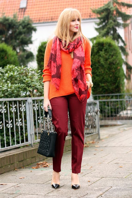 orange and burgundy outfit
