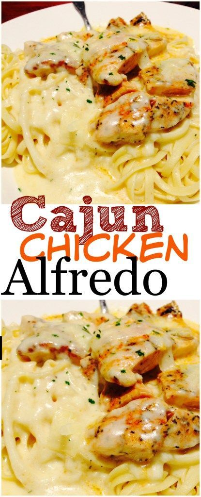 Cajun Chicken Alfredo. This is hand's down the world's best pasta recipe! One of those restaurant copycat meals that is WAY better than the original. The flavor will keep you coming back for more again and again! A+++