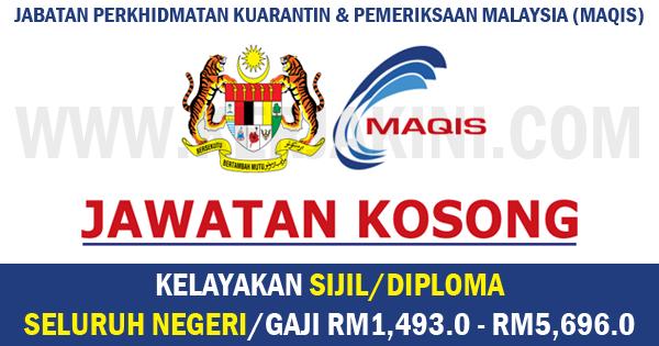 jawatan kosong jabatan perkhidmatan kuarantin dan pemeriksaan malaysia