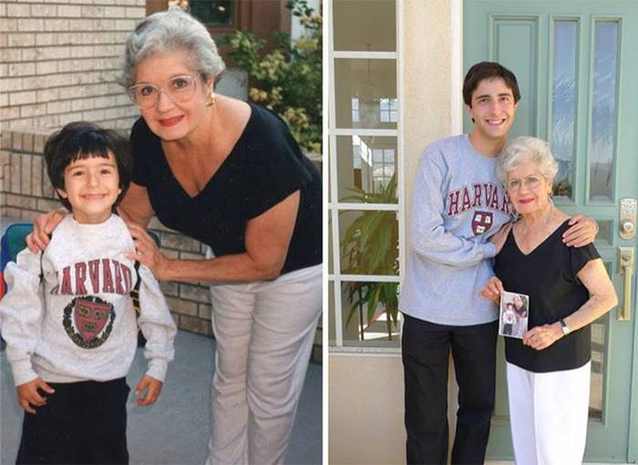 Grandmother escorts her grandson to Harvard. 19 years later.