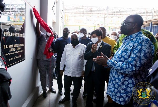 1D1F: President Akufo-Addo Commissions Phase One Of B5 Plus Steel Plant