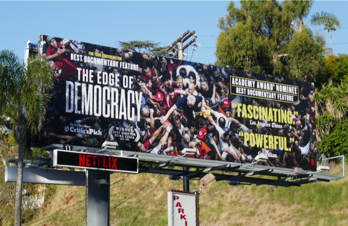 Edge of Democracy Oscar nominated billboard