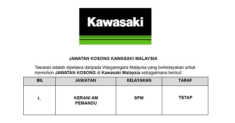 Kawasaki Motor Malaysia [ Kerani Am Diperlukan ]