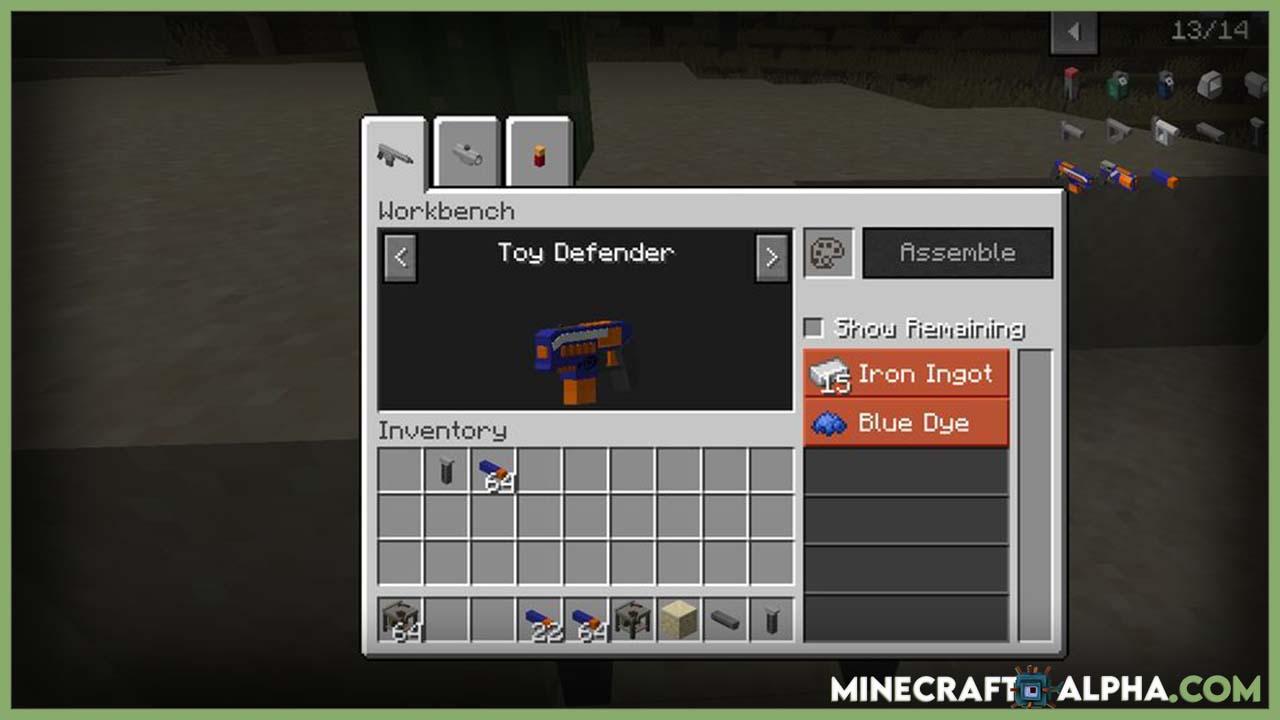 Minecraft Toy Guns Mod 1.16.5 (Harmless Firearms)
