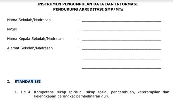 INSTRUMEN PENGUMPULAN DATA DAN INFORMASI PENDUKUNG AKREDITASI SMP/MTs