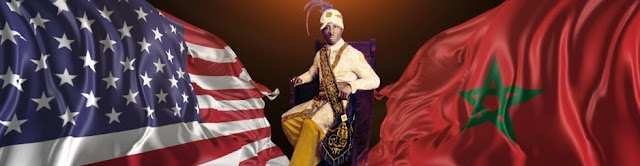 prophet noble drew ali seated between the us american flag and the moorish flag