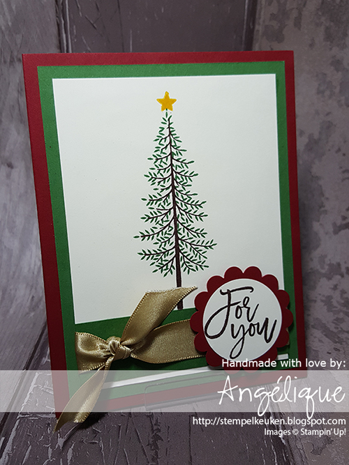 http://stempelkeuken.blogspot.com/2016/07/christmas-in-july-thoughtful-branches.html Stempelkeuken, Thoughtful Branches, Garden Green, Cherry Cobbler, Gold Satin Ribbon