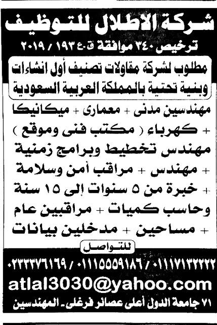 وظائف مهندسين جريدة الاهرام الجمعة بتاريخ اليوم 29 نوفمبر 2019، والتي تحتوي على عشرات الوظائف الخالية للمهندسين في الشركات والمؤسسات المصرية، وفرص عمل للمهندسين في المملكة العربية السعودية في العديد من التخثصصات المختلفة.