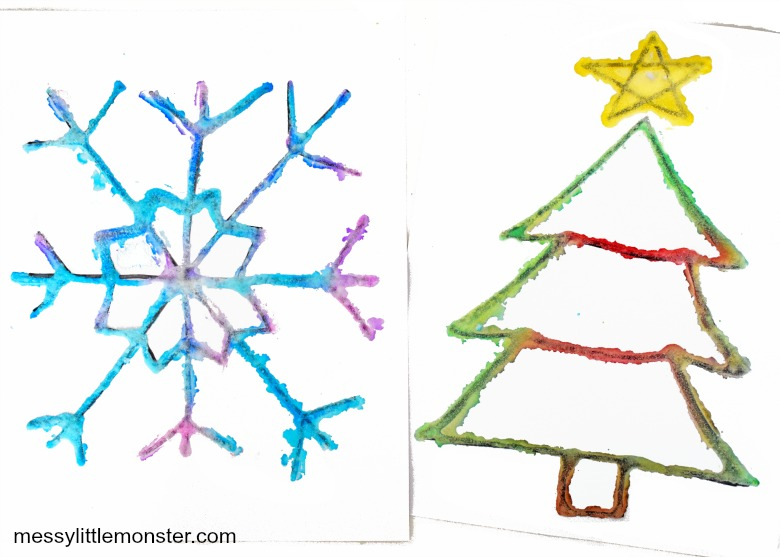 Christmas salt painting for kids