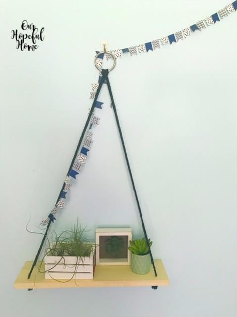 floating shelf washi tape banner white crate white frame