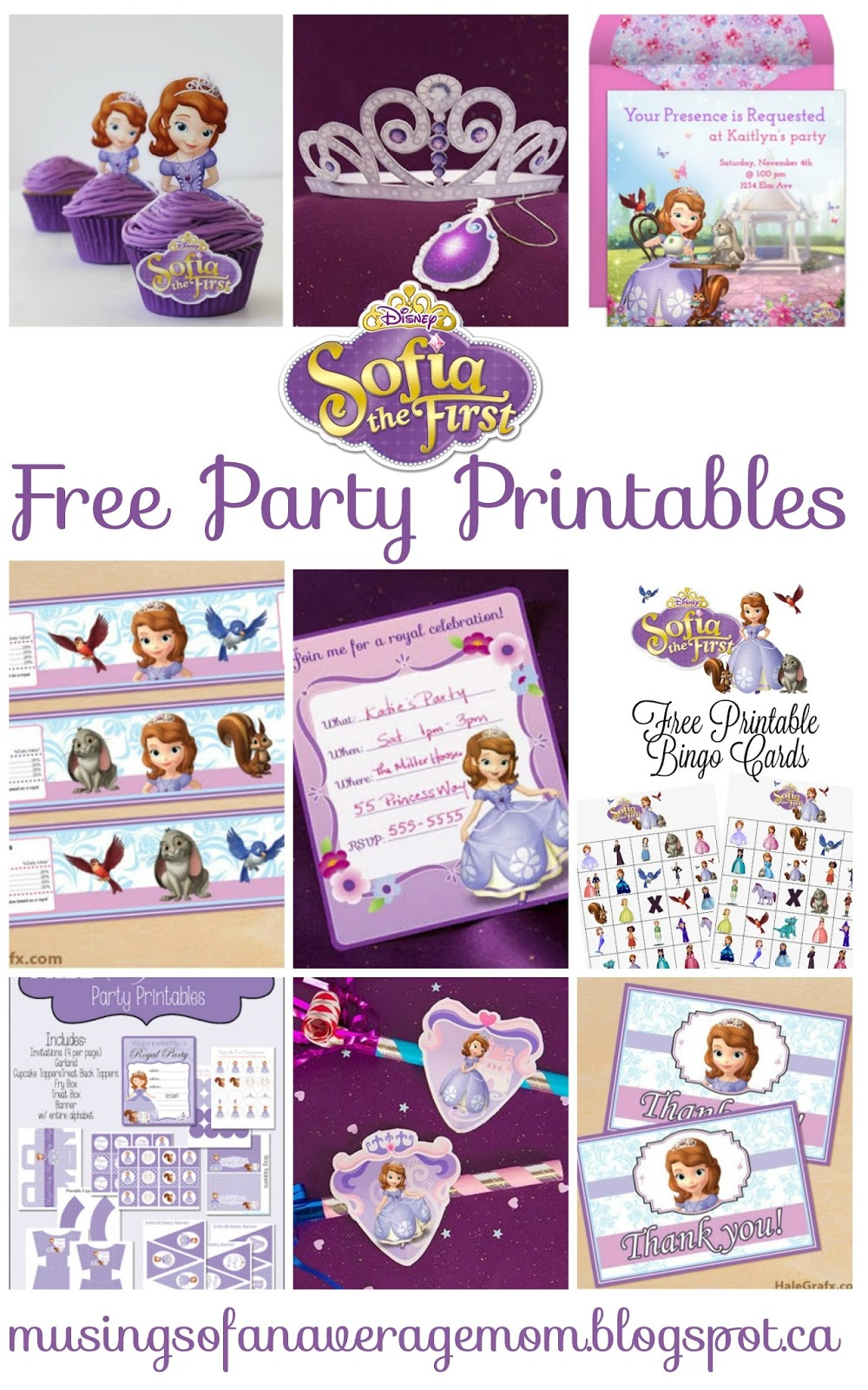Printable Sofia The First : printable, sofia, first, Musings, Average, Sofia, First, Party, Printables