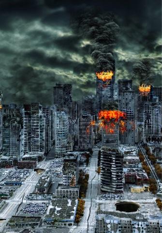bangunan di kota hancur bencana alam