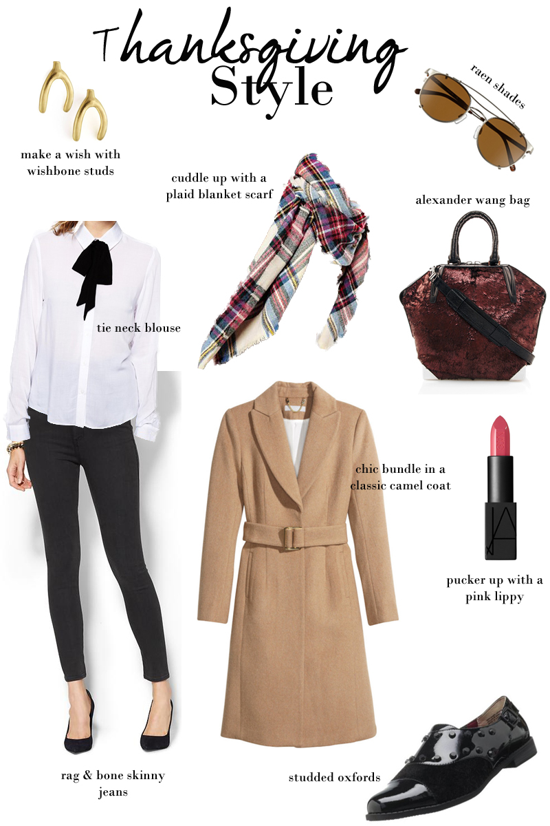 thanksgiving outfit ideas, camel coat, black jeans, plaid scarf, tie neck blouse