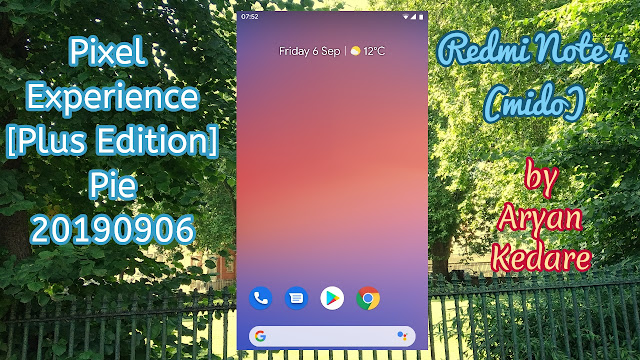 Pixel Experience Plus Edition Pie 20190906 ROM for mido by