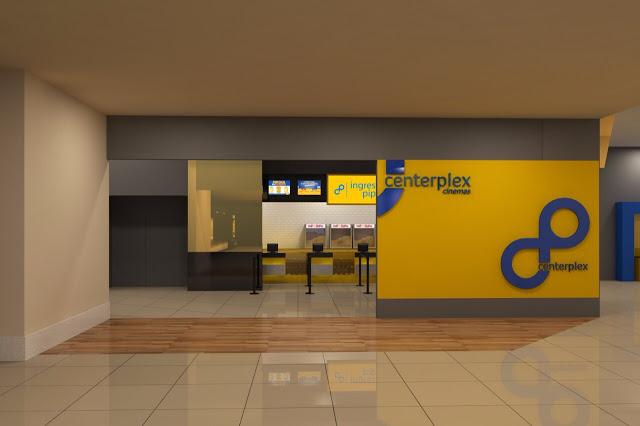 Reinauguração do cinema Centerplex em Barretos-SP no North Shopping - Visão da fachada com os totens modernos para compra de ingresso online