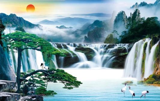 Tranh Dán Tường 3D Phong Thủy Đẹp
