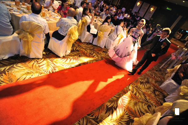 red carpet, walking into reception wedding