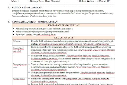 RPP 1 Lembar Ekonomi Kelas 10 Semester 1 & 2