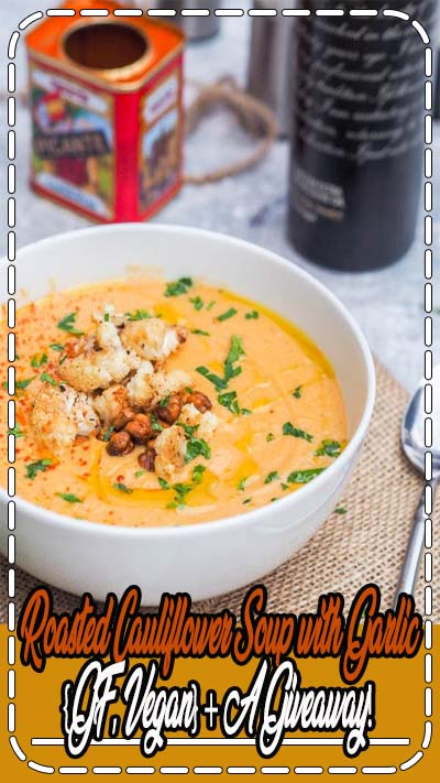 Roasted cauliflower soup is super creamy vegan soup made with roasted garlic and coconut cream. This makes for the most comforting weeknight dinner. Gluten Free too. Roasted cauliflower soup - you are my new love. You