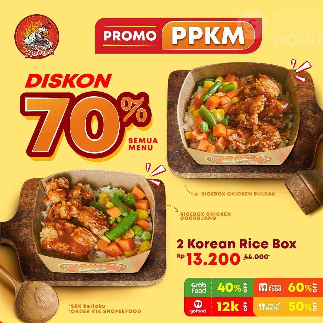 Ayam Geprek Master Promo PPKM! Diskon 70% Semua Menu