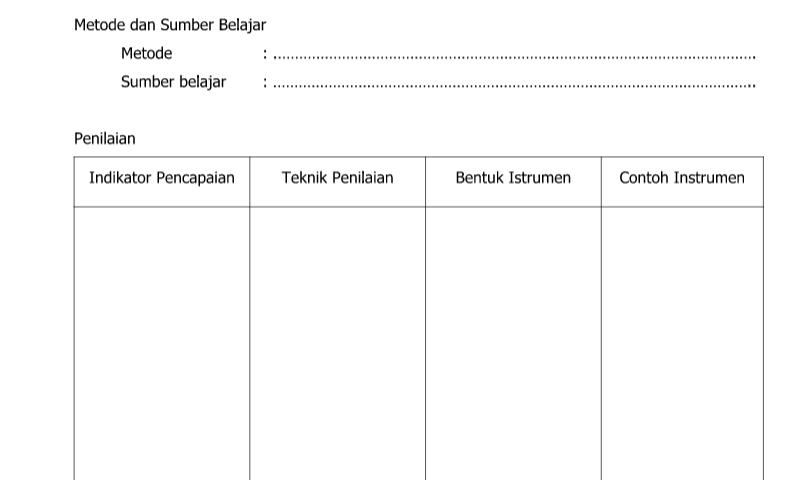 Contoh Bentuk Rencana Pelaksanaan Pembelajaran - Halaman 2 dalam Administrasi Guru Sekolah Format Ms. Word (doc/docx)